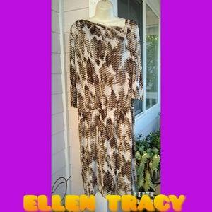 ELLEN TRACY MOCHA ABSTRACT PRINT DRESS